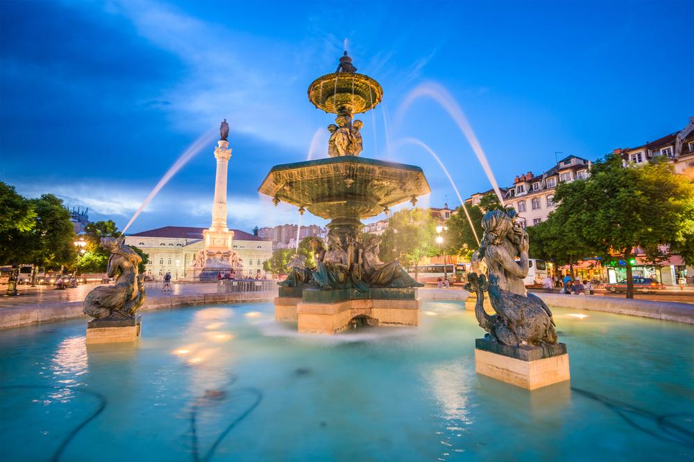 Lisbon-Portugal-cityscape-at-Rossio-Square