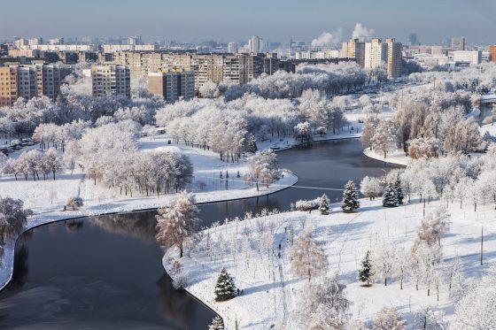 Minsk-Belarus-December-10-2017-Urban-winter-views-of-Minsk-from-the-high-floor-View-of-the-river-Svisloch-