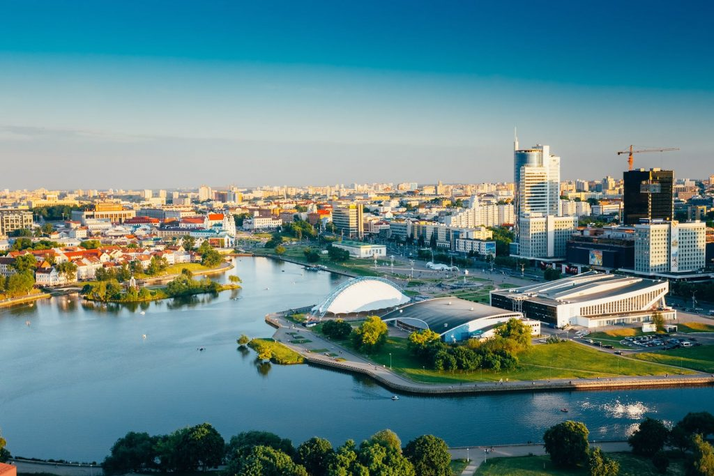 Aerial-view-cityscape-of-Minsk-Belarus.-Summer-season-sunset-time.-Nyamiha-Nemiga-district