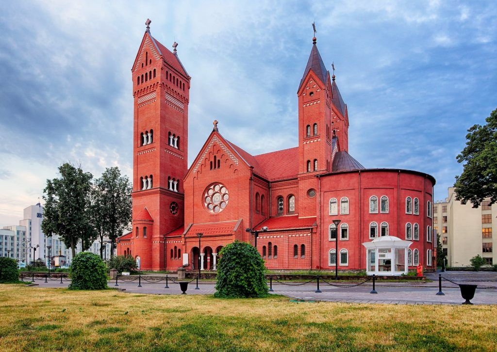 Red-Church-or-Church-Of-Saints-Simon-and-Helen-at-independence-Square-in-Minsk