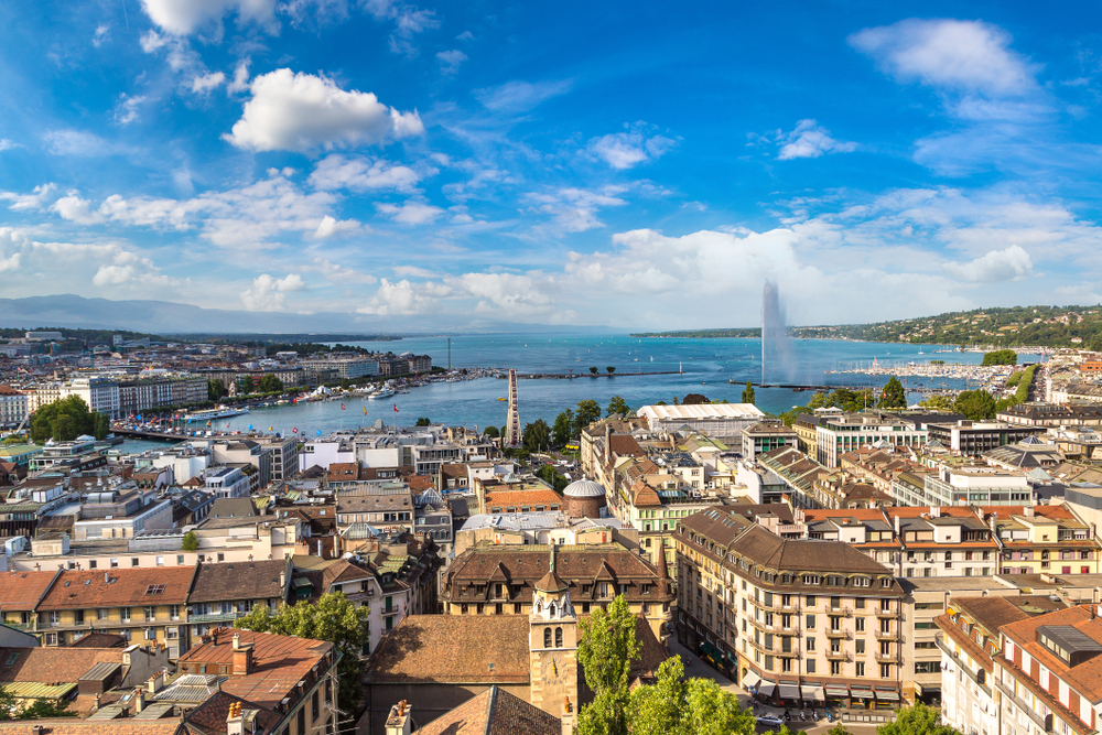 Panoramic aerial view of Geneva in a beautiful summer day, Switzerland