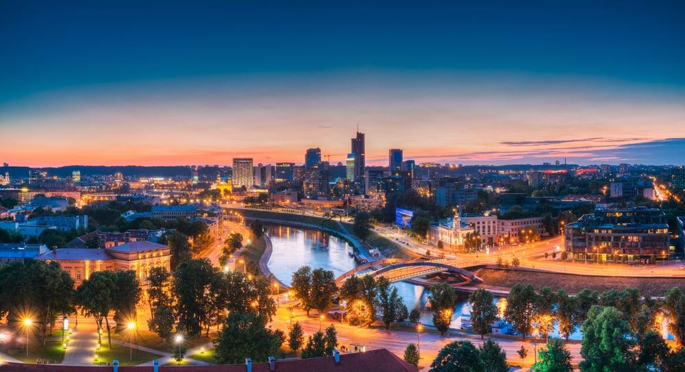 Vilnius-Lithuania-Eastern-Europe.-Modern-Office-Buildings-Skyscrapers-In-Business-District-New-City-Center-Shnipishkes